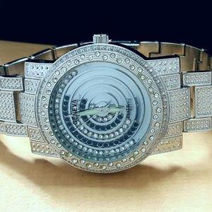 Elite Designer Men's Iced Floating Stones Watch
